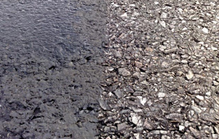 Asphalt runway before and after using TrackJet®